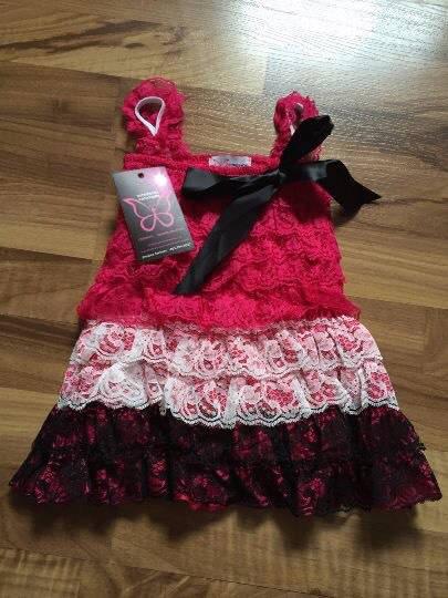 0b8385bff019 Black White   Pink Baby Vintage Lace Romper Dress - Supernova Creations